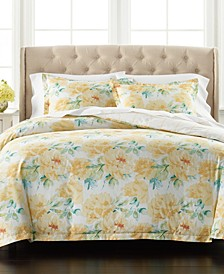Percale Yellow Peony Reversible 3-Pc. Full/Queen Comforter Set, Created for Macy's
