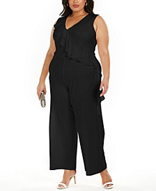 Plus Size Ruffled Wide-Leg Jumpsuit