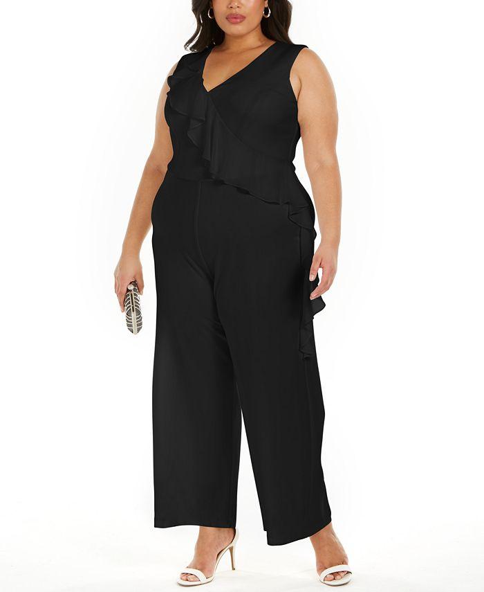 Connected - Plus Size Ruffled Wide-Leg Jumpsuit