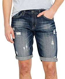 Men's PARKER-X Slim-Fit Ripped Denim Shorts