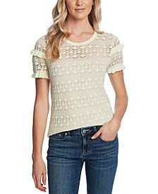 Ruffled Cotton Pointelle Sweater