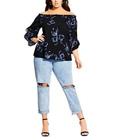 Trendy Plus Size Hiroto Floral Top
