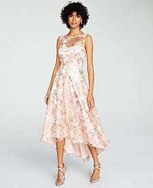 Embroidered High-Low Illusion Gown