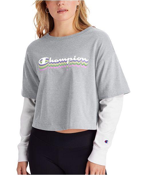 Champion Women's Cotton Logo Layered-Look Cropped Shirt