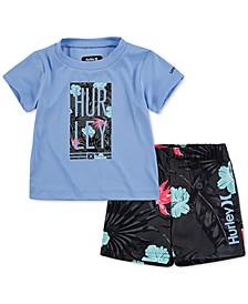 Baby Boys 2-Pc. UPF 50+ Logo T-Shirt & Swim Trunks Set