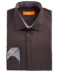 Men's Slim-Fit No-Iron Performance Stretch Black Dot Print Dress Shirt