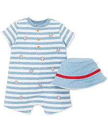 Baby Boys 2-Pc. Cotton Hat & Striped Baseball Romper