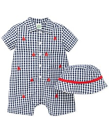 Baby Boys 2-Pc. Cotton Gingham Hat & Sailboat Romper