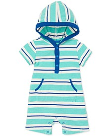 Baby Boys Striped Hooded Cotton Romper