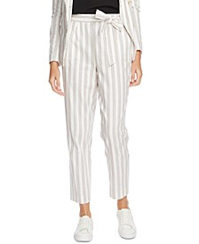 Striped Cotton Tie-Waist Pants