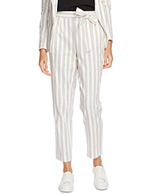 1.STATE Striped Cotton Tie-Waist Pants