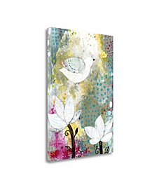 Bird with Lotus Flowers by Sarah Ogren Giclee Print on Gallery Wrap Canvas