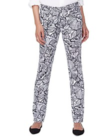 Tummy-Control Sheri Printed Slim-Fit Jeans