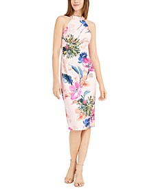 High-Neck Floral Sheath Dress