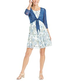 Petite Tiered Dress & Tie-Front Shrug