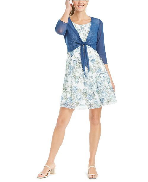 Connected Petite Tiered Dress & Tie-Front Shrug