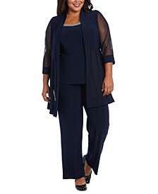 Plus Size Embellished Layered-Look Pantsuit