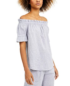 Petite Striped Linen-Blend Off-The-Shoulder Top