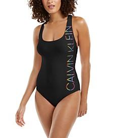 Logo Cross-Back One-Piece Swimsuit