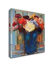 Flowers in a Blue Vase by Hooshang Khorasani Print on Canvas