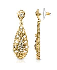 Gold-Tone Crystal Filigree Drop Earrings