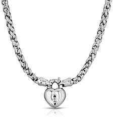 Silver-Tone Lock and Heart Necklace
