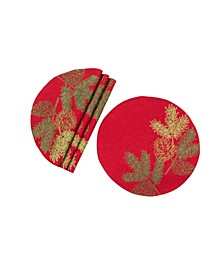 Christmas Pine Tree Branches Embroidered Double Layer Round Placemat - Set of 4