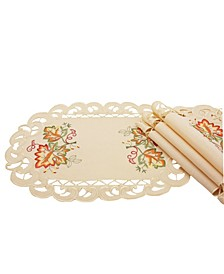 Thankful Leaf Embroidered Cutwork Fall Placemats - Set of 4