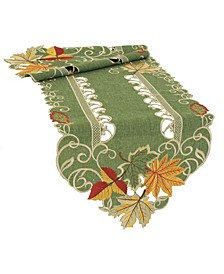 Delicate Leaves Embroidered Cutwork Table Runner Collection