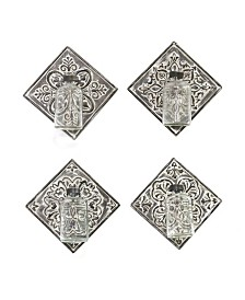 Stratton Home Decor Metal Accent Tile with Hanging Glass Vase, Set of 4