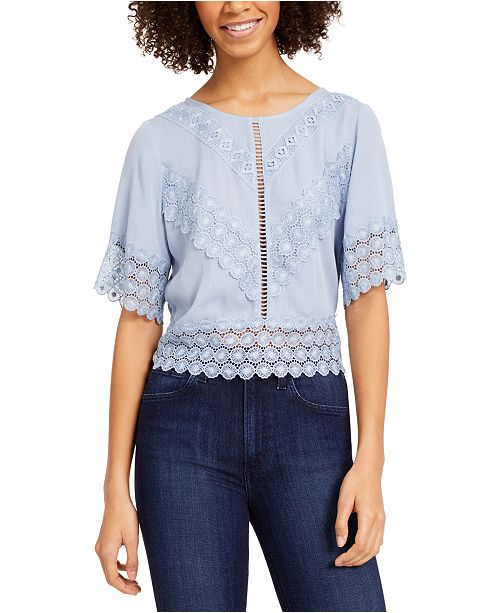 Self Esteem Juniors' Lace-Trim Top
