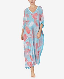 Women's Knit Palm Print Caftan, Online Only