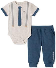 Baby Boys 2-Pc. Necktie & Suspender Bodysuit & Jogger Pants Set