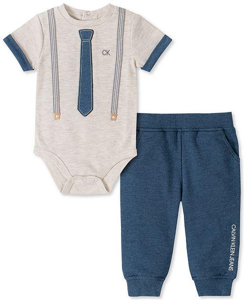 Calvin Klein Baby Boys 2-Pc. Necktie & Suspender Bodysuit & Jogger Pants Set