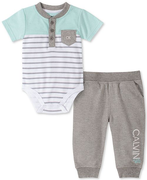 Calvin Klein Baby Boys 2-Pc. Henley Bodysuit & Pants Set