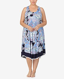 Plus Size Knit Ballet Nightgown, Online Only