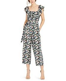 Floral-Print Cropped Jumpsuit