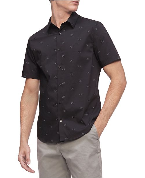 Calvin Klein Men's Short Sleeve Monogram Strech 50S Shirt