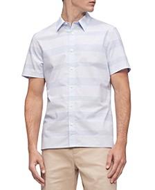Men's Short Sleeve Stretch Cotton Stripe Shirt