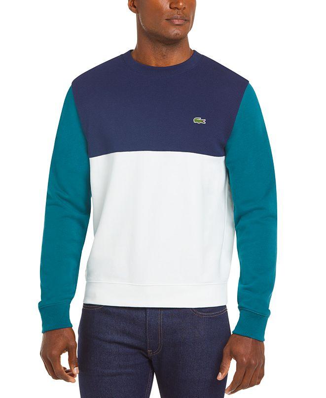 Lacoste Men's Regular Fit Colorblock Mixed Piqué French Terry Sweatshirt