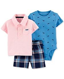 Baby Boys 3-Pc. Cotton Bodysuit, Polo Shirt & Shorts Set