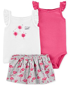Baby Girls 3-Pc. Flamingo Cotton Bodysuit, Shirt & Skort Set