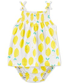 Baby Girls Lemon-Print Cotton Sunsuit