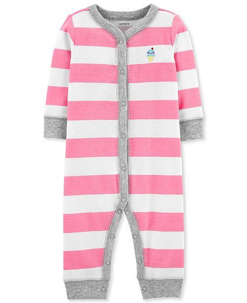 Carter's Baby Girls 1-Pc. Striped Ice Cream Cotton Sleep & Play