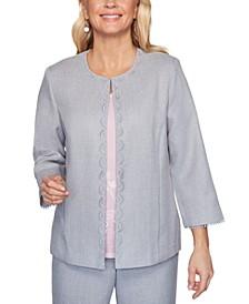 Primrose Garden Basket Weave Lace-Trimmed Jacket