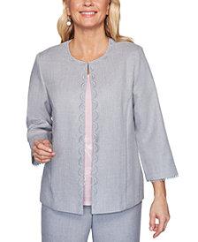 Alfred Dunner Primrose Garden Basket Weave Lace-Trimmed Jacket
