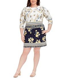 Plus Size Mixed-Print Dress