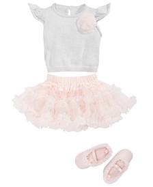 Baby Girls Flutter Top, Tutu Skirt & Ballerina Flats Separates, Created for Macy's