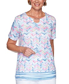 Petal Pushers Bead-Embellished Chevron-Print Top