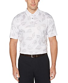 Men's Stretch Tropical-Print Polo Shirt